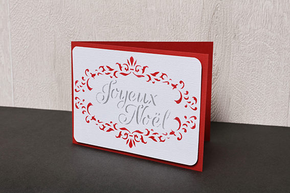 carte Joyeux Noël rouge barok