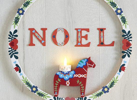 couronne Noël Folk cheval oiseaux