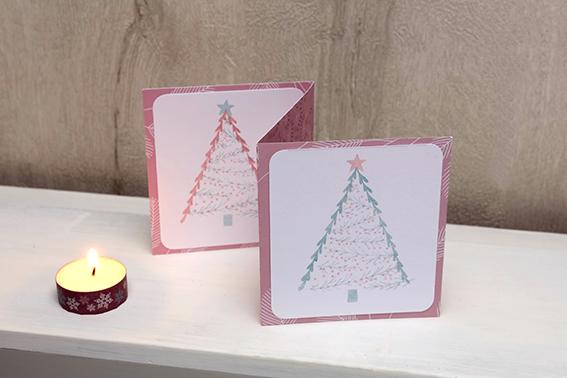 carte accordéon Noël sapins