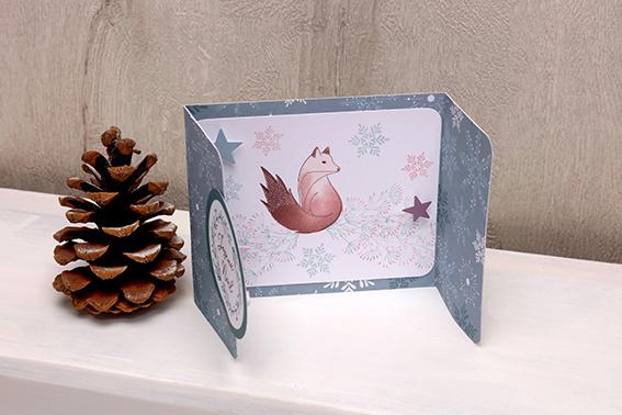 carte Joyeux Noël volets renard
