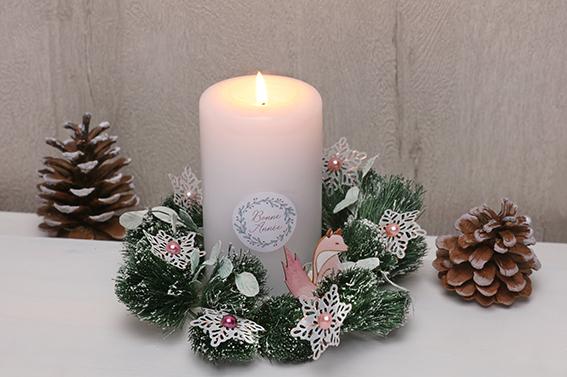 bougie Isatis Noël renard flocons feuillage couronne