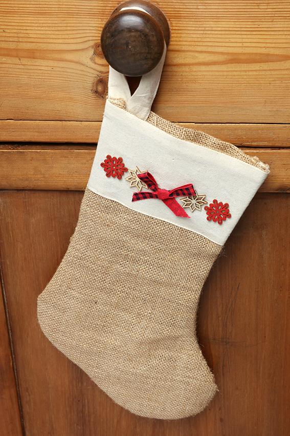 chaussette Noël jute