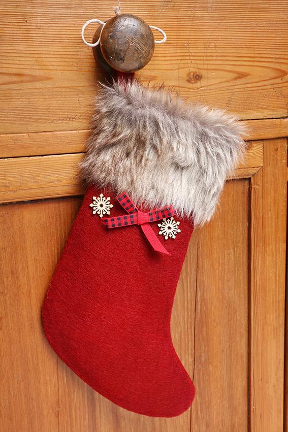 chaussette Noël fourrure feutre rouge