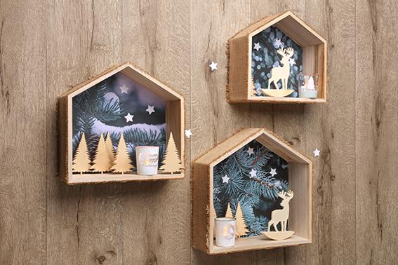 maison Noël paysage hivernal sapin cerf