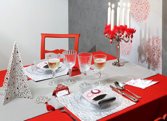 table Barok Noël rouge
