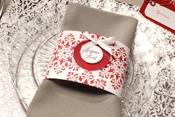 table Barok Noël rouge serviette
