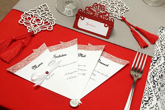 table Barok Noël rouge menu