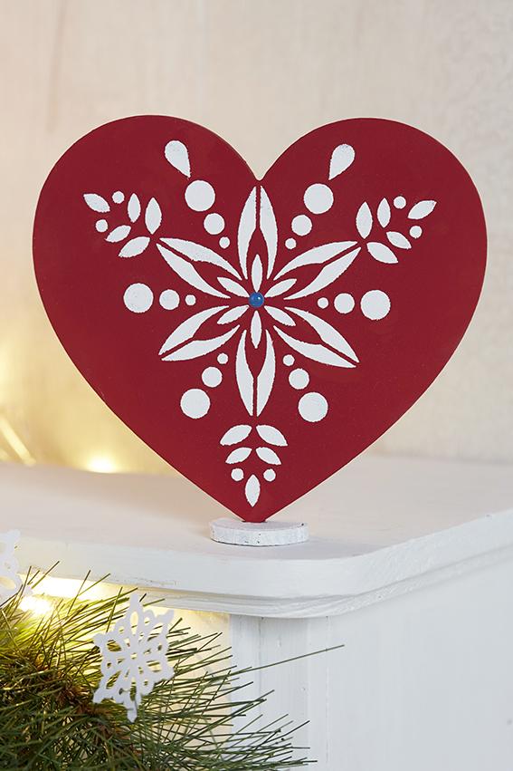 décoration Noël folk coeur rouge