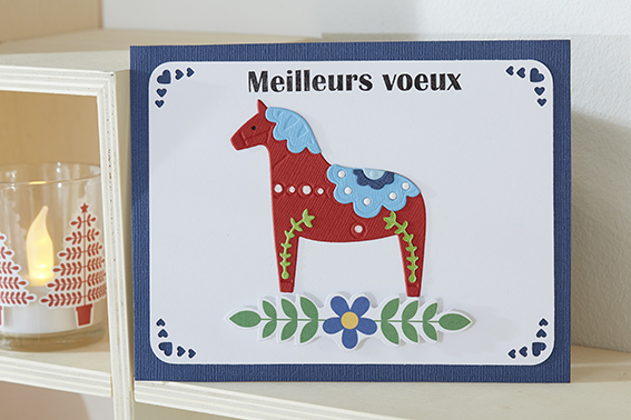 carte voeux folk cheval bleu rouge
