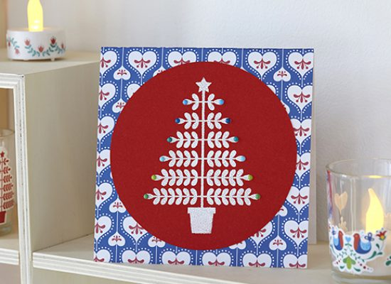 carte voeux Noël sapin rouge bleu folk