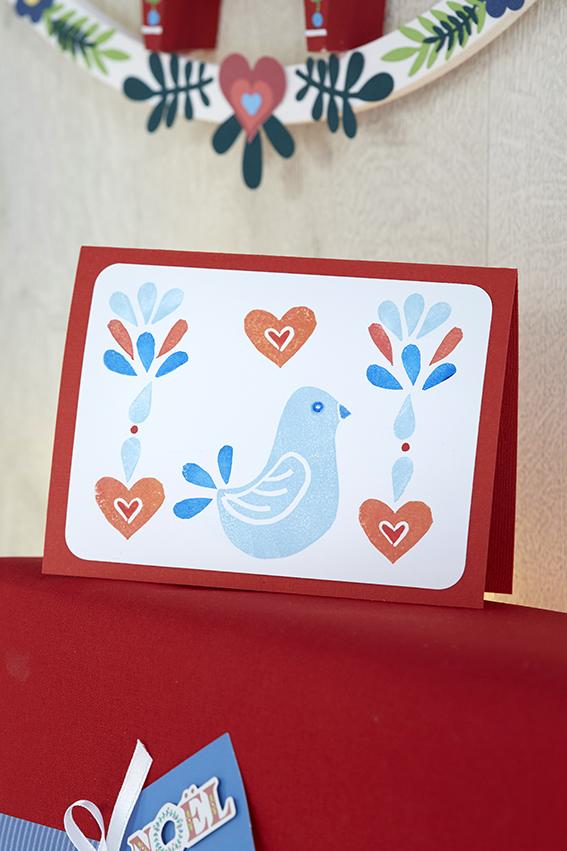 carte voeux Noël oiseau coeur bleu rouge
