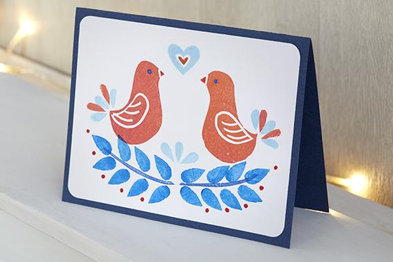 carte voeux Noël oiseaux couple amour coeur rouge bleu