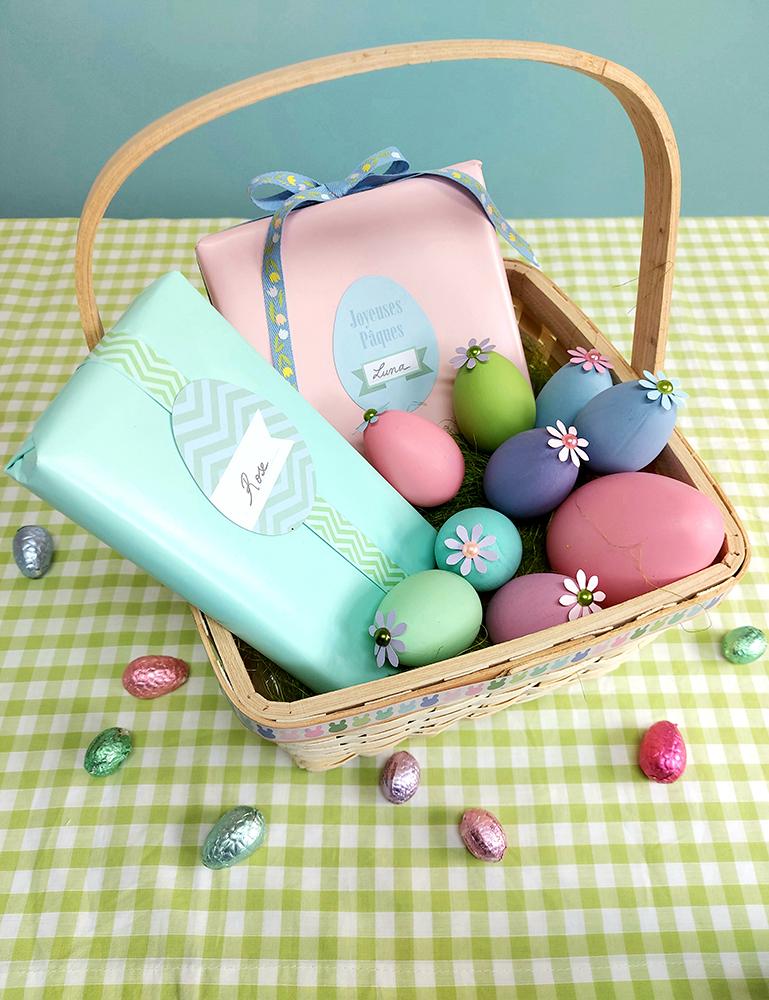 Pâques chasse aux œufs panier cadeaux