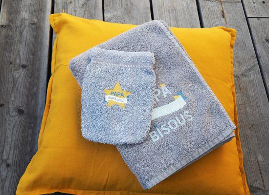 transfert textile gant de toilette essui fête des pères